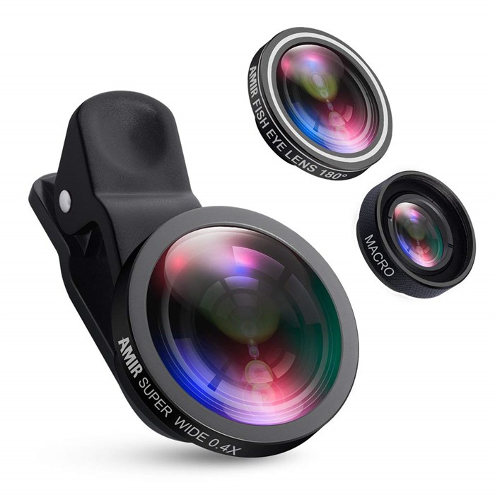 AMIR for iPhone Lens, 0.4X Wide Angle Lens + 180°Fisheye Lens